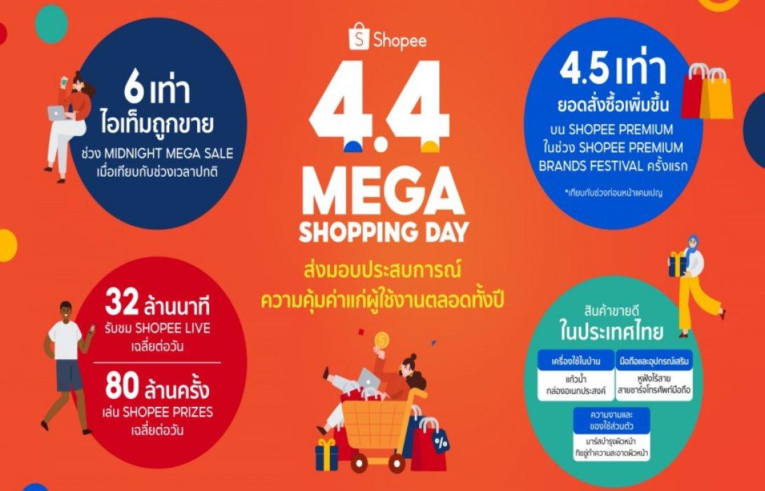"""""""ช้อปปี้"""" เผย แคมเปญ Shopee 4.4 Mega Shopping Day ชี้ Midnight Mega Sale 2 ชั่วโมงแรก สินค้าถูกจำหน่ายออกไปเพิ่มขึ้นสูงถึง 6 เท่า"""