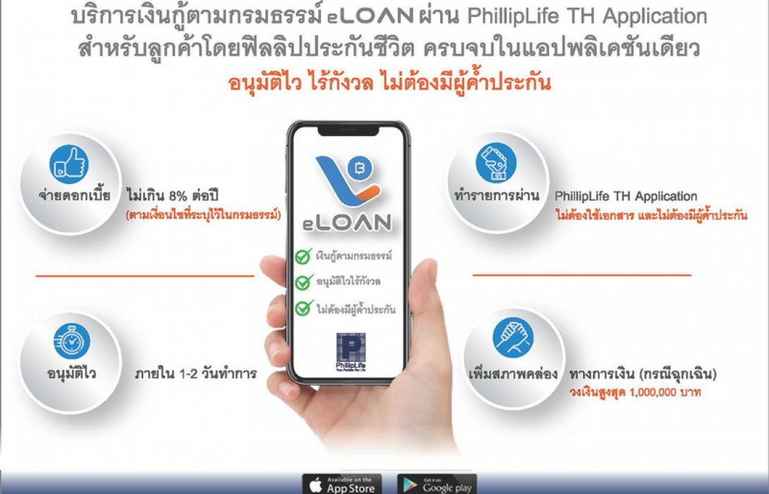 ฟิลลิปไลฟ์ เพิ่มวงเงินกู้ตามกรมธรรม์ผ่านระบบอิเล็กทรอนิกส์ (eLoan)สูงสุดไม่เกิน 1,000,000 บาท