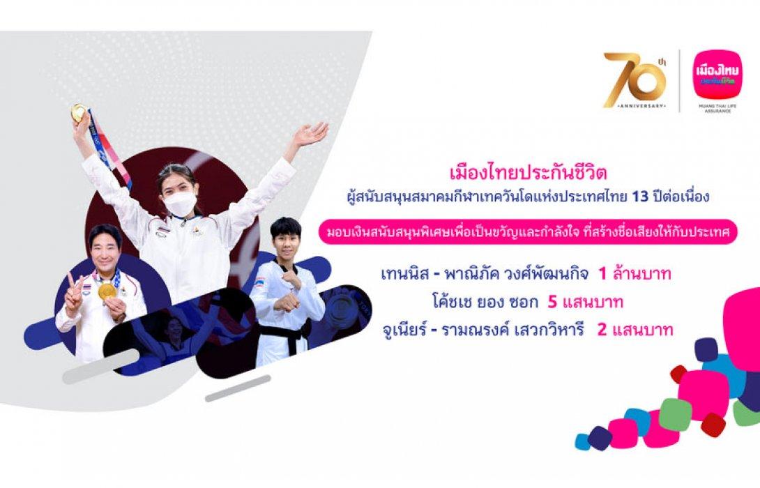 เมืองไทยประกันชีวิต มอบเงิน 1.7 ล้านบาท สนับสนุนตัวแทนนักกีฬาเทควันโดทีมชาติไทย โอกาสคว้าชัยการแข่งขัน Olympic Games Tokyo 2020