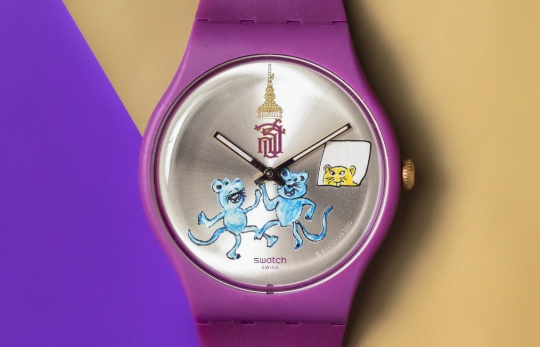"""สมาคมนักเรียนเก่าสวิสส์ เปิดตัวนาฬิกาข้อมือสวอท์ช รุ่นพิเศษ """"แมวไม่อยู่ หนูระเริง"""""""